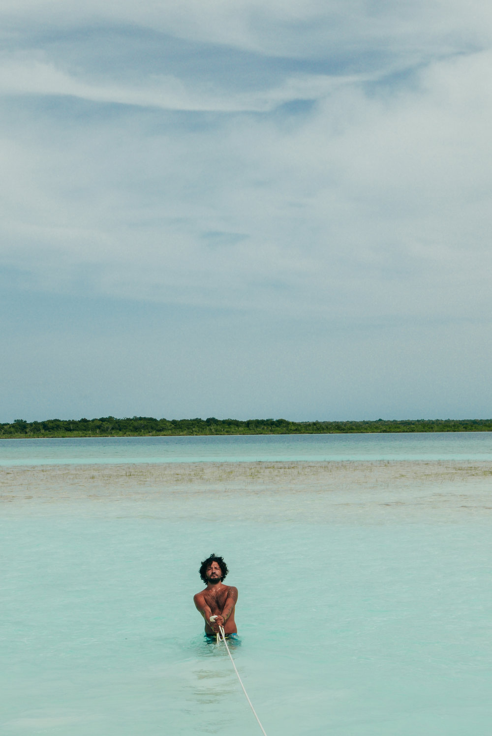 Our wonderful guide, Balam pulling us into bird island
