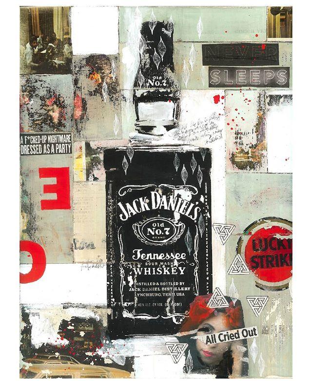 mixed media collage 2018 . . .  #art #artist #bostonartist #mixedmediaart #artistsoninstagram #artwork #create #collage #painting #jackdanielsart #jackdaniels #drinks #drawing #photography #luckystrike #materials
