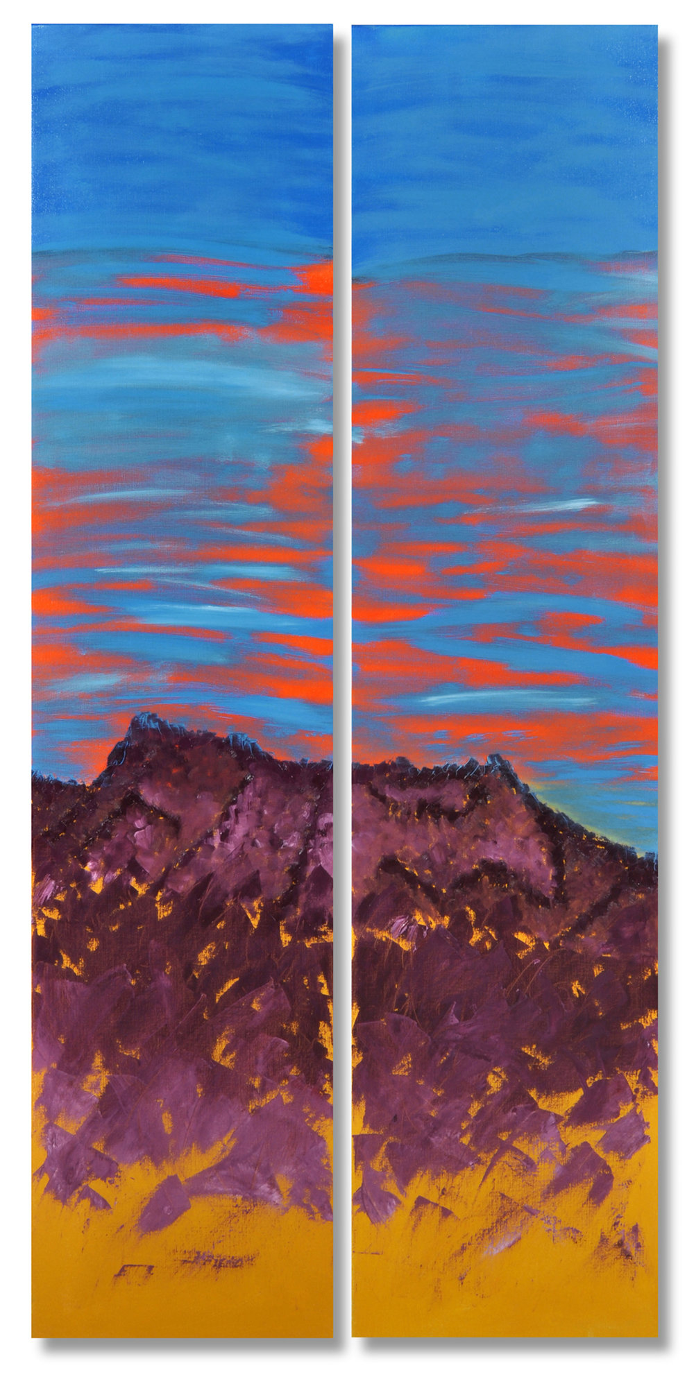 "Cabo Color Medium: Oil on Linen 2011 60"" x 14"" dip-tych"