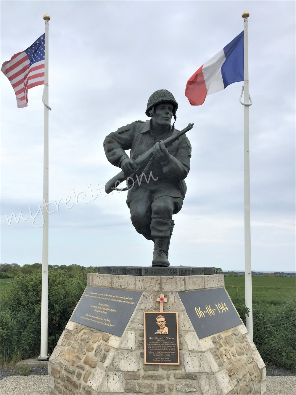 Along the road to Sainte Marie-du-Mont, you will find the 12 ft. bronze Richard Winters Leadership Monument, honoring D-Day's junior U.S. military officers' service on June 6, 1944.