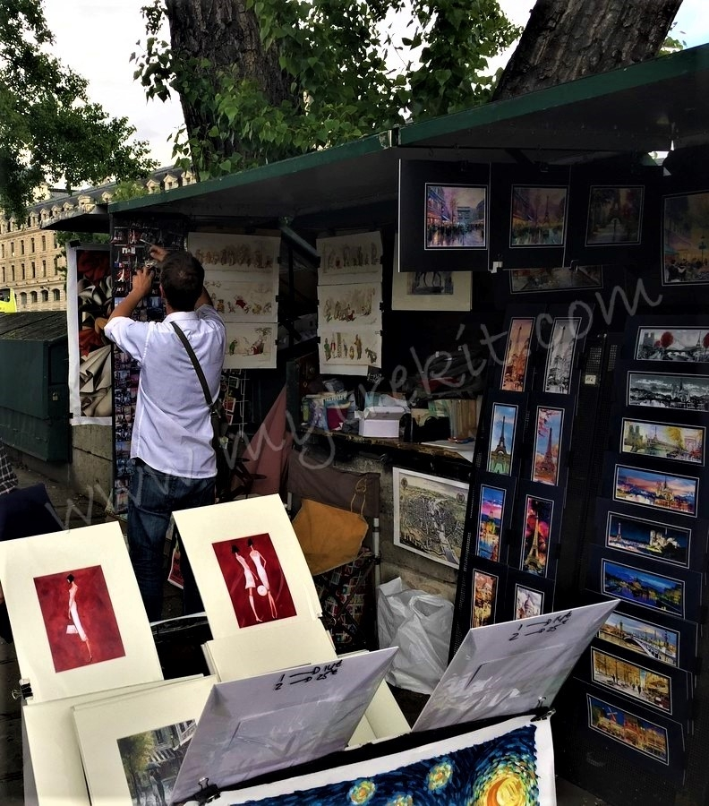 The quintessential Paris street artists' display near Notre Dame.