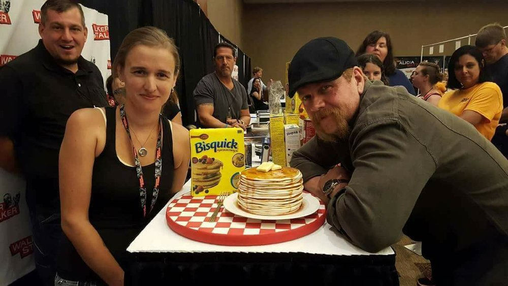 Michael Cudlitz with Elizabeth and his stack of pancakes. Made in honor of Michael collecting donations of bisquick and other goods for local food pantries.