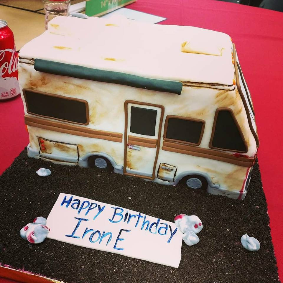 birthday camper cake for IronE singleton. he said it reminded him of dales camper.