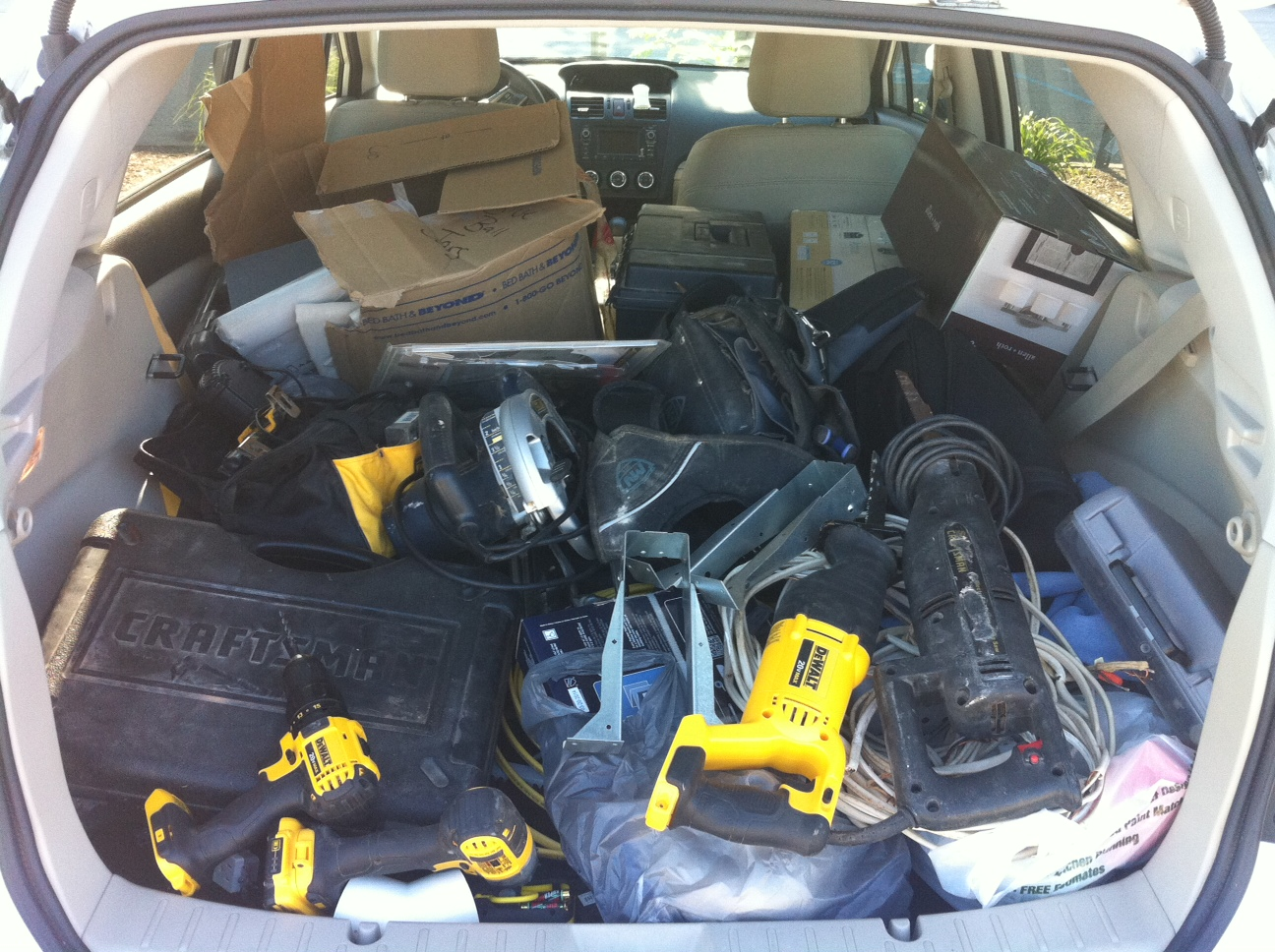 All the tools loaded up in my car. A way to show the city we are obeying.