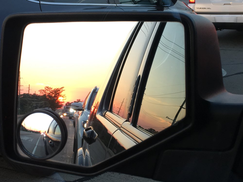 Last night I spent a long time looking at all the photos on his phone and laughed and cried a lot at all the sweet things he captured. This is one of the last photos he took. Life in the rearview mirror and another beautiful sunset.