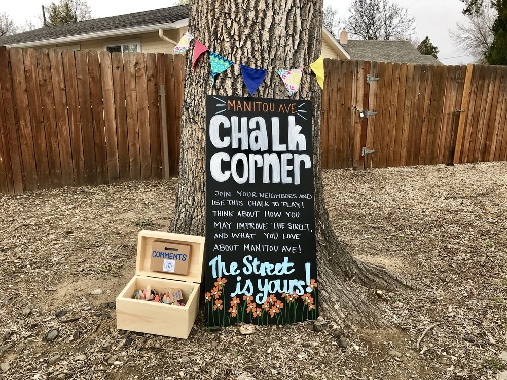 Kellie and Hannah's Chalk Corner. They gave every person on the block a piece of chalk and asked them to draw what they loved and/or wanted to see added to the street.