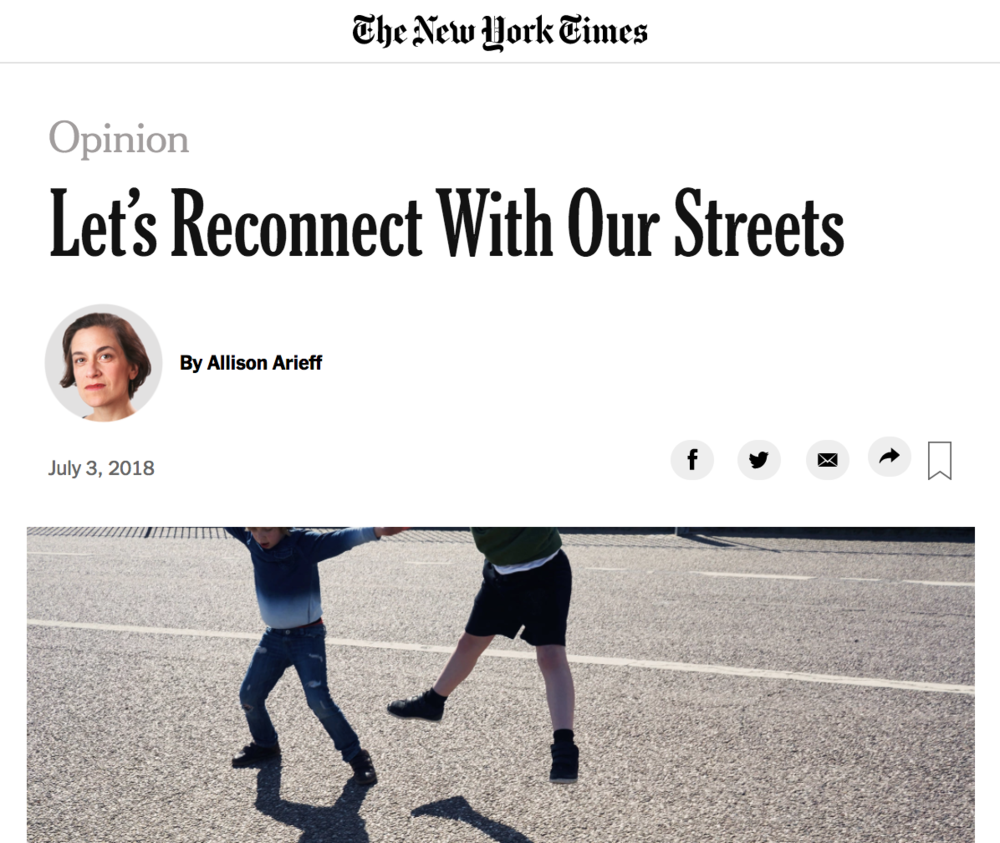 NSS in the Press - Allison Arieff wrote about connectivity and responsibility in the streets in her New York Times op-ed on the National Street Service.Read it Here