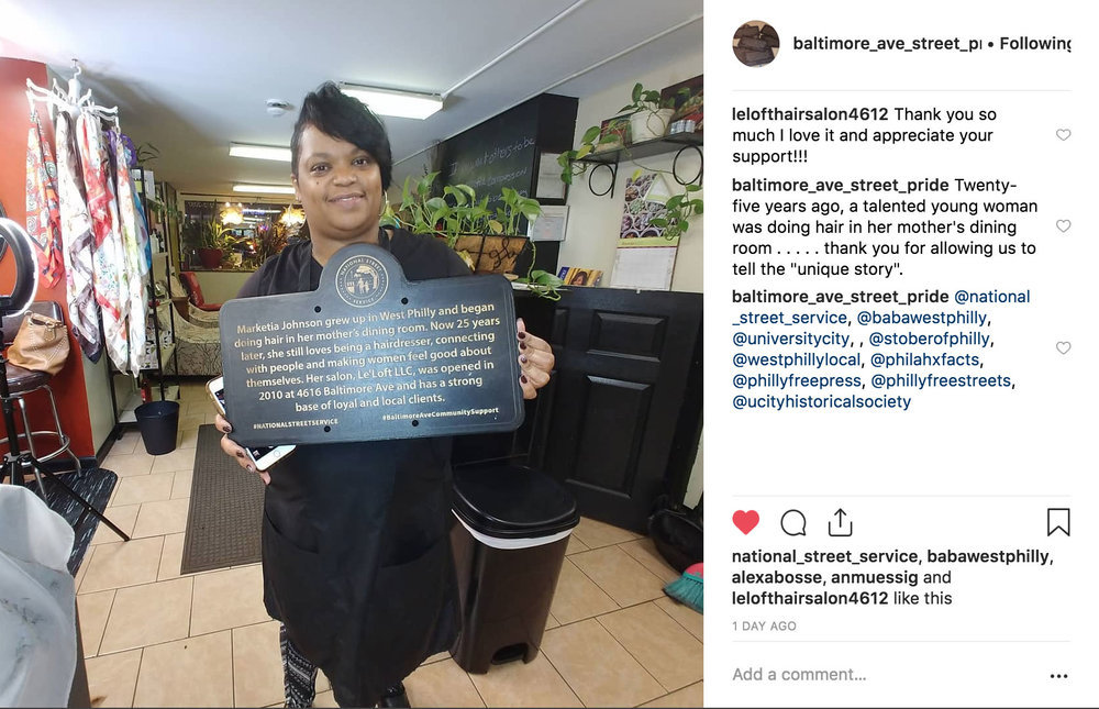 A local business owner expresses their appreciation for the sign which Brian created to celebrate their story. Photo credit: @lelofthairsalon4612