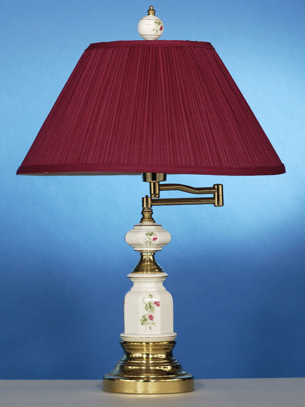 Solid Brass Swing Arm Table Lamp In Wine