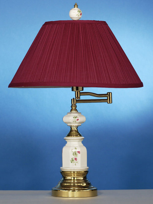 Solid brass swing arm table lamp in wine tomlin lighting inc solid brass swing arm table lamp in wine aloadofball Images