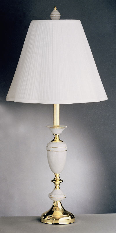 Solid Brass Table Lamp With Ribbed Porcelain Tomlin Lighting Inc