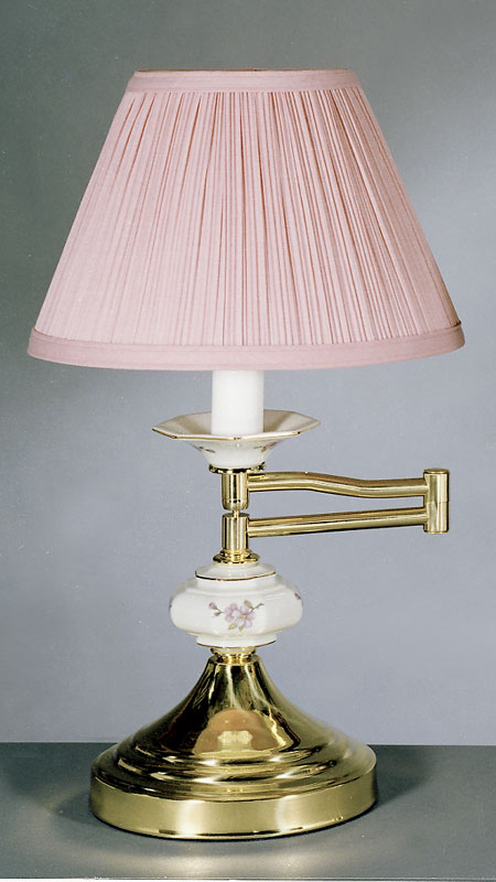 Solid brass swing arm table lamp in dusty rose tomlin lighting inc solid brass swing arm table lamp in dusty rose aloadofball Images