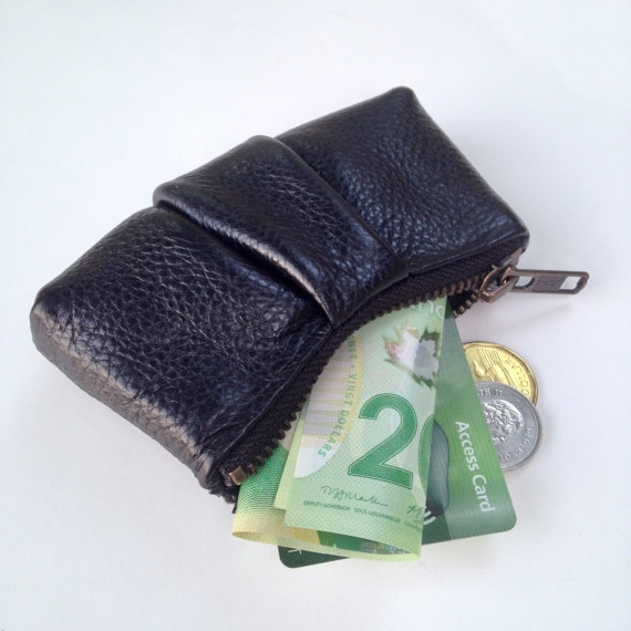 LEATHER COIN POUCH, BLACK -