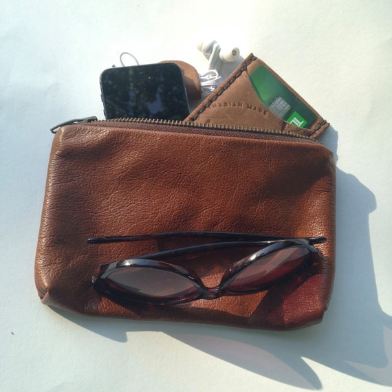 LEATHER FESTIVAL POUCH, BROWN -