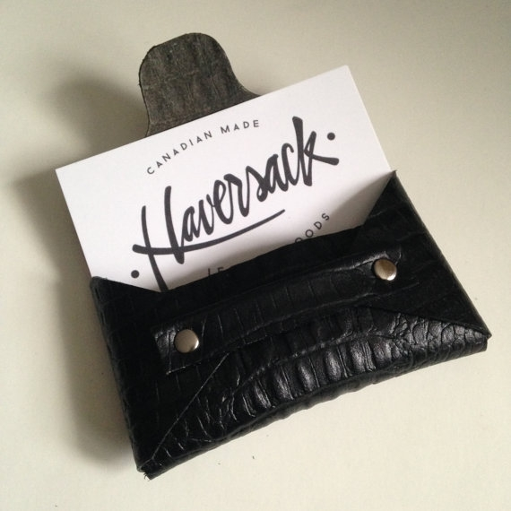 LEATHER BUSINESS CARD HOLDER, BLACK -