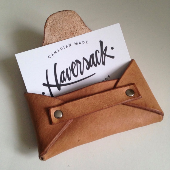 LEATHER BUSINESS CARD HOLDER, BROWN -