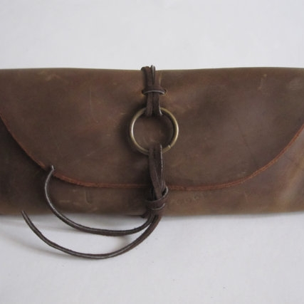 LEATHER TOBACCO POUCH, BROWN  -