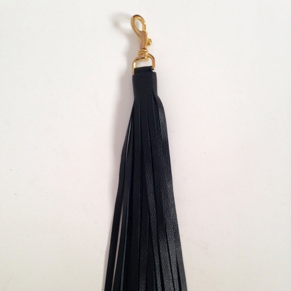 LARGE LEATHER TASSEL, BLACK  -