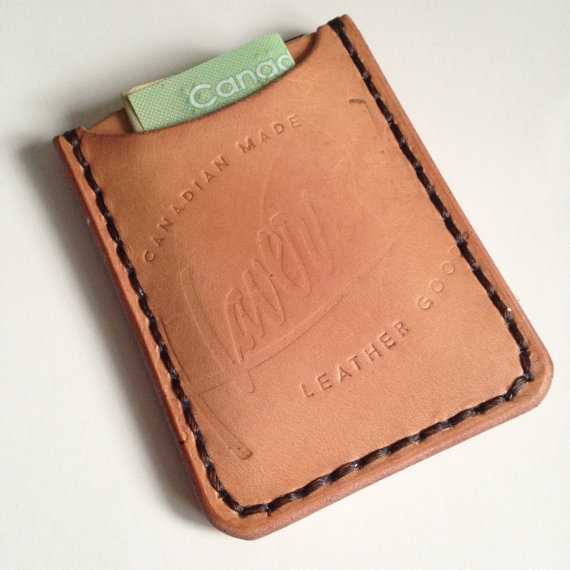 LEATHER WALLET/CARD SLIP, LIGHT BROWN -