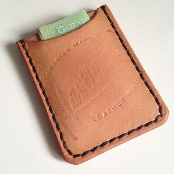 LEATHER WALLET/CARD SLIP, LIGHT BROWN -