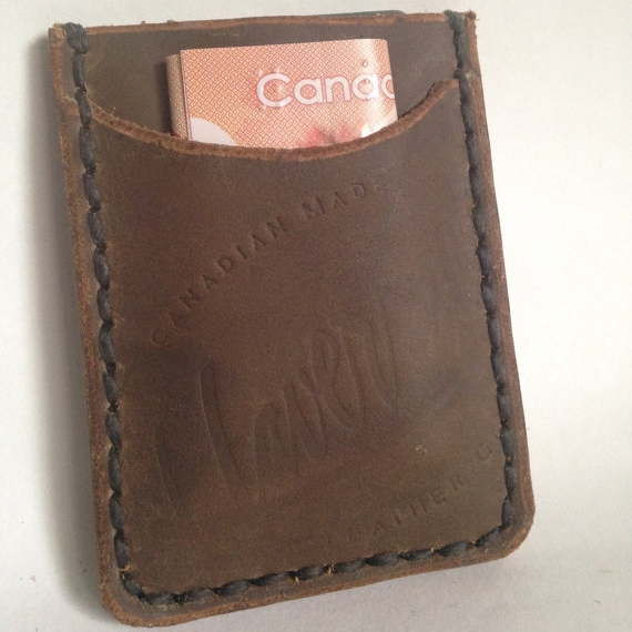LEATHER WALLET/CARD SLIP, DARK BROWN -