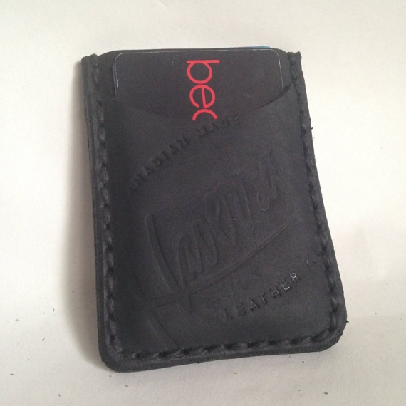 LEATHER WALLET/CARD SLIP WITH CLIP, BLACK -