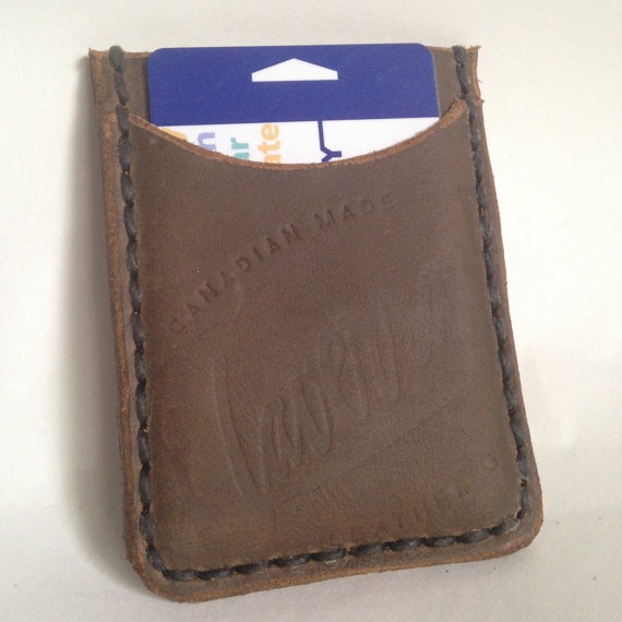 LEATHER WALLET/CARD SLIP WITH CLIP, BROWN -