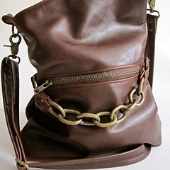 LEATHER CROSSBODY PURSE, BROWN  -