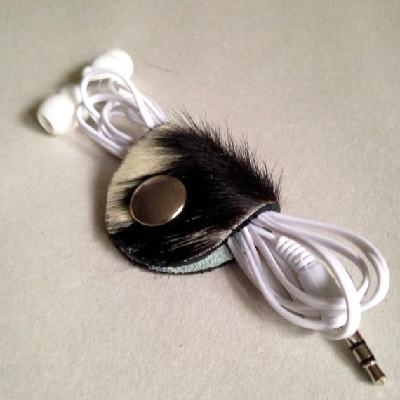 LEATHER EARBUD TACOS, HAIR ON COWHIDE -