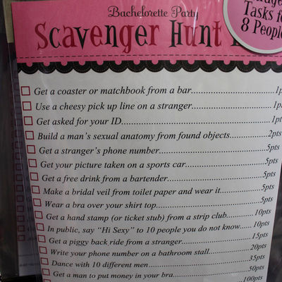 Bachlorette party scavenger hunt