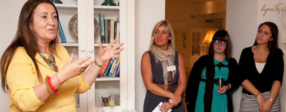 Lynne in discussion at B.Hive with Simone Roche, founder of Northern Power Women