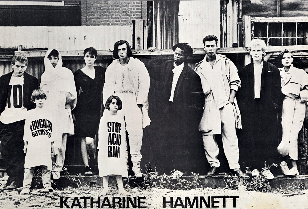 Picture by Peter Lindbergh for Katherine Hamnett Campaign 1984, featuring Lynne's children Joshua and Jessica Howie