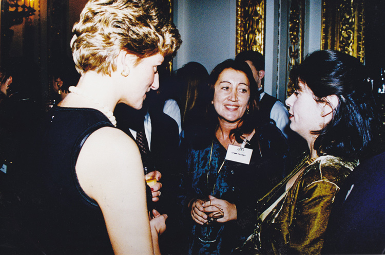 Lynne at Kensington Palace for London Fashion Week with Princess Diana and Alexandra Shulman, editor of Vogue
