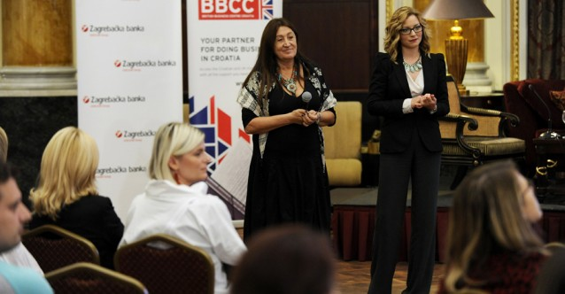 Lynne presenting to Croatian business women in Zagreb on behalf of the British Embassy