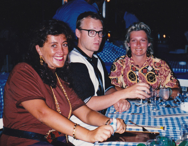 Lynne on holiday with Jennifer Saunders and Ade Edmondson