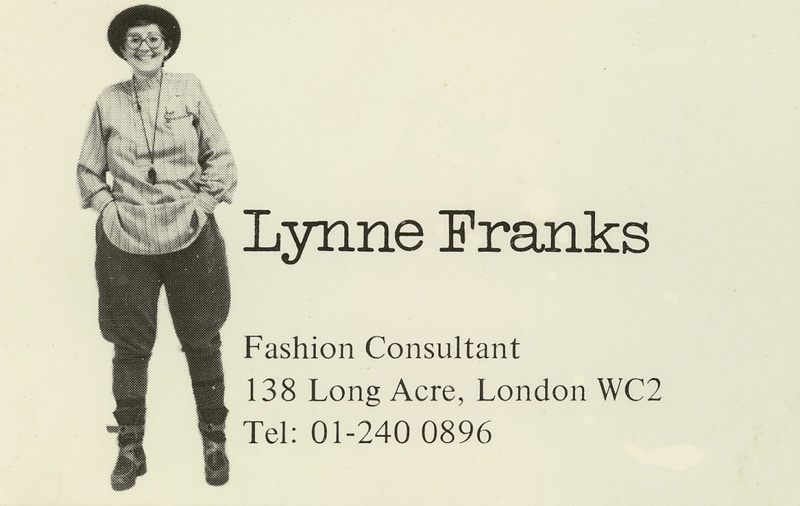 Lynne's first business card, wearing Mrs Howie's best-selling women's land-army breeches