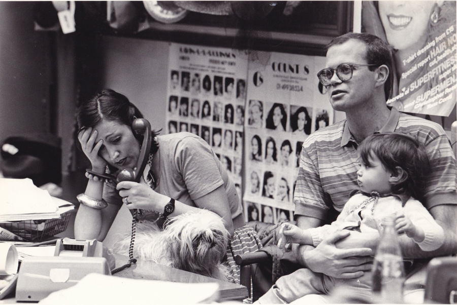 In the office at LFPR, behind the Mrs Howie shop in the early 70's, with former husband Paul Howie, baby daughter Jessica and Sam the Shih-tzu