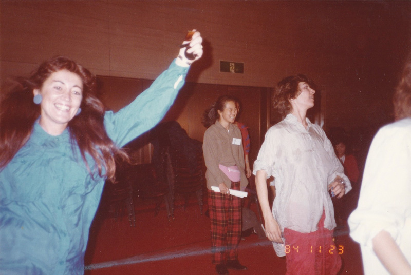 Lynne in Japan with Katharine Hamnett, dancing at Katharine's fashion show