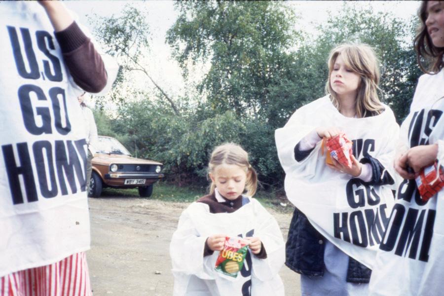 At Greenham Common with designer Katharine Hamnett and her 'US GO HOME' slogan T-shirts, 1983