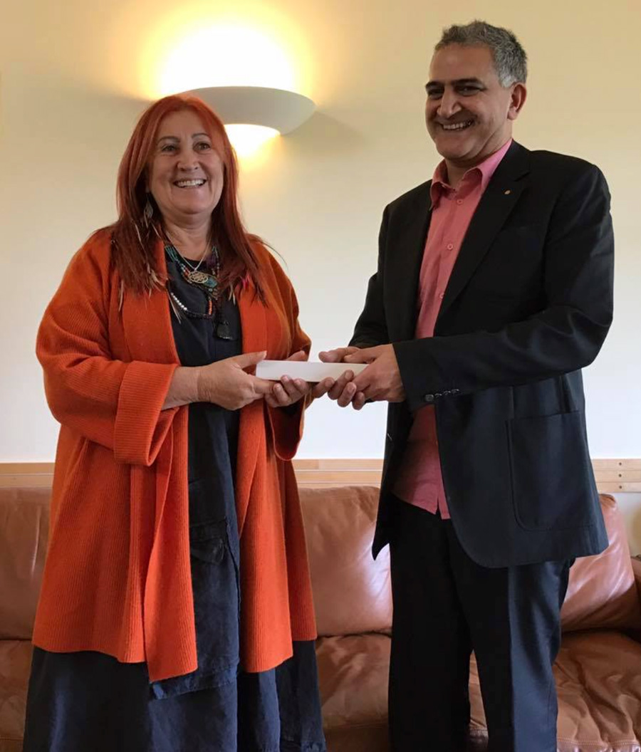 Receiving new Gohonzon from David Woodger at Taplow Court, S.G.I. UK Headquarters, 2017