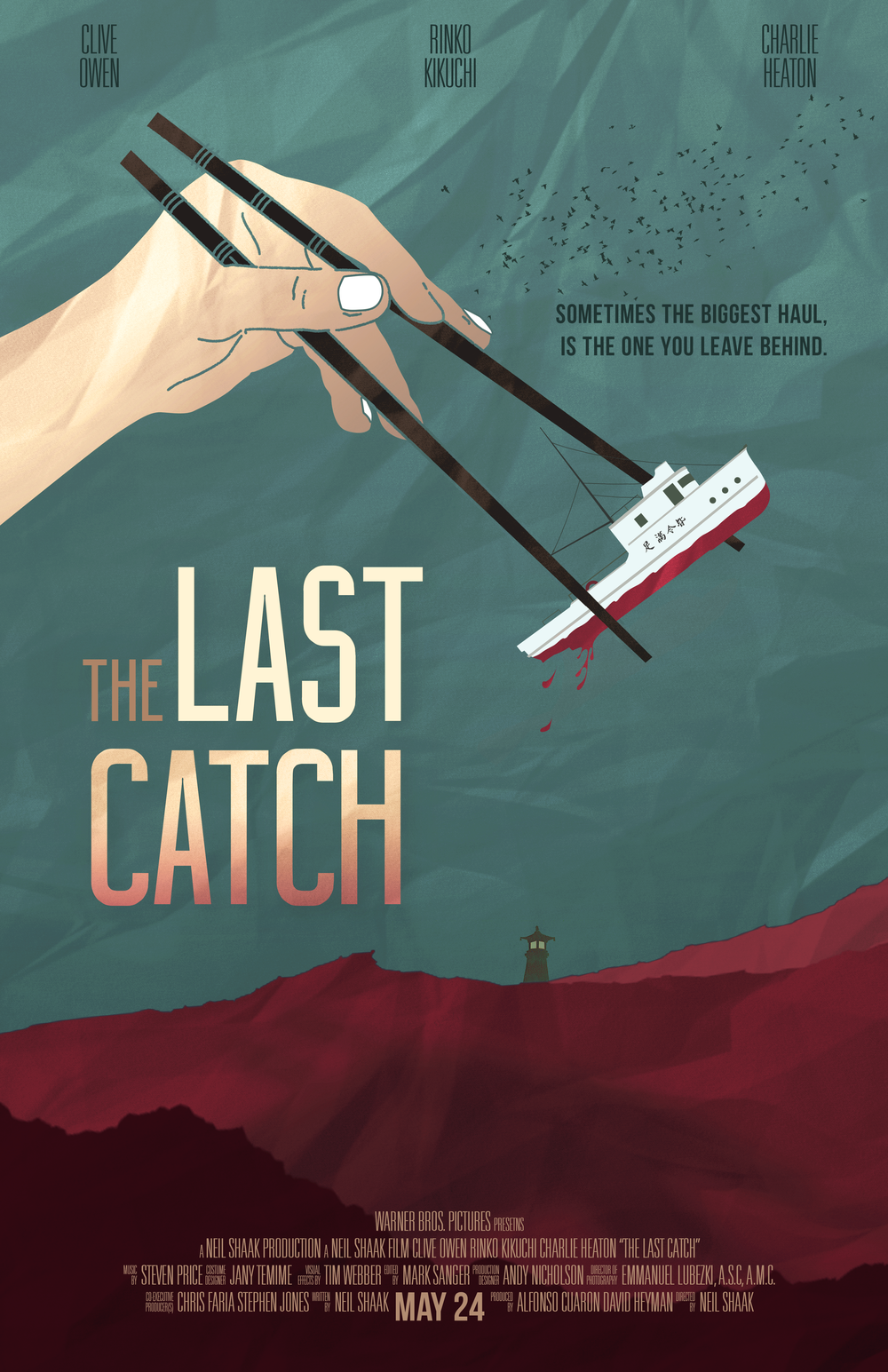 THE LAST CATCH  - FILM CONCEPT & POSTER DESIGN Our oceans are dying. Climate change, pollution, and over fishing have pushed our seas to their brink. To combat the risk of losing what was once the world's greatest resource, several countries have joined together to form WARF. The World Alliance for the Restoration of Fisheries. This group, which is well funded and heavily armed, rule the seas with an iron fist to strictly enforce a world-wide ban on commercial fishing. After successfully keeping fish off the plates and out of the mouths of the masses for 15 years, legislation has been passed to allow commercial fishers to fish the seas once again. With the expected price of certain species to be worth several times their weight in gold, the chance of landing a large fortune is too alluring for certain elements to pass up. When a majority of the crews are backed by criminal organizations, the fishermen know what's at stake and are willing to do whatever it takes to satisfy their financial backers and make this next catch the last they'll ever need.