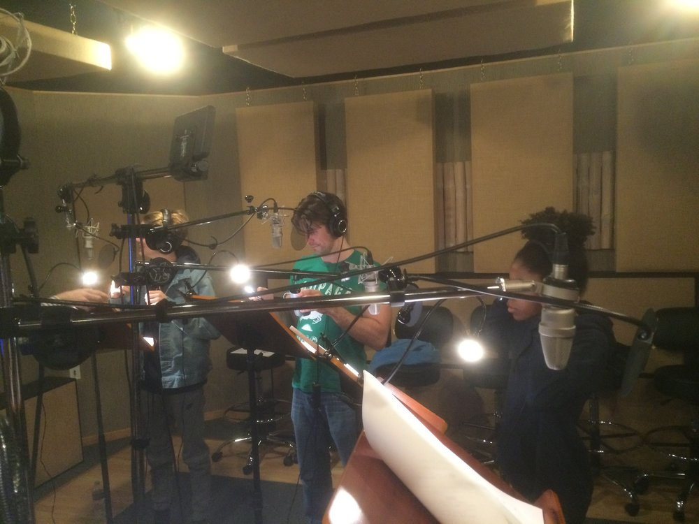 """Recording the very first episode of """"The Adventures of Kid Danger and Captain Man!"""" for Nickelodeon. Dan Schnieder was so excited to push the button to talk to us from the booth. It's the little things..."""