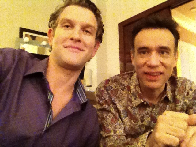 """Me and my tv fiance Fred Armisen shooting """"Modern Family"""" in Vegas. He was in Blue Man Group too!"""