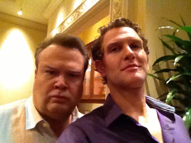 """With the talented Eric Stonestreet shooting """"Modern Family"""" in Vegas. He's a drummer too!"""