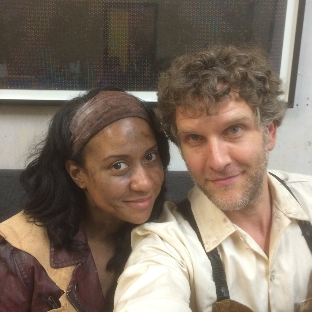 """With the talented Tracy Thoms on the set of the short film """"Pipe"""". She beat me up good on this one..."""