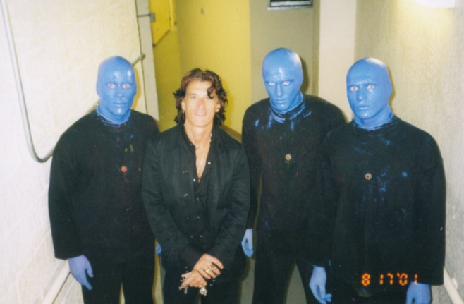 Long time fan of Blue Man Group Joe Perry came to see us when Aerosmith was in Vegas. He saw our Boston show many times.