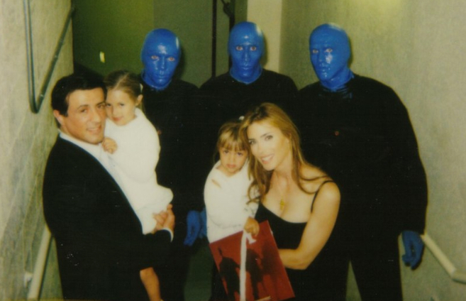 Sly Stallone and his family. I think his girls were scared of us.