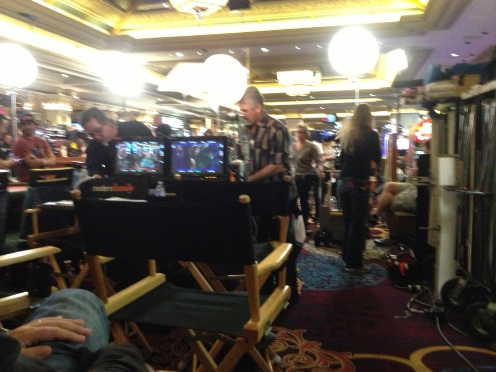 We shot Modern Family RIGHT in the middle of the Mandalay Bay. Drunk people everywhere...