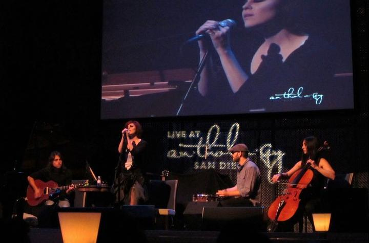 Onstage backing up the talented Anna Nalick at Anthropology in San Diego. What an artist she is!