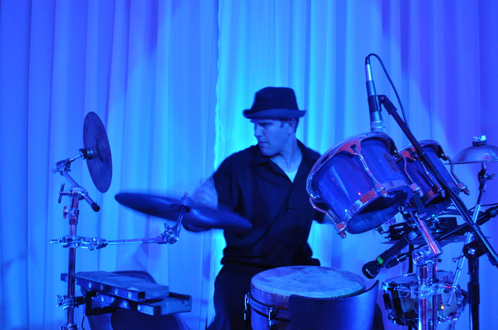 Drumming with DJ Dubgypsy at an event. Love playing along to great music!